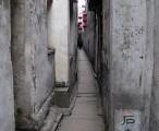 西塘 - 石皮弄,王家子孙两宅间的夹弄,以168块石板铺就。长68米,最窄处0.8米 / 2004-01-26 14:35