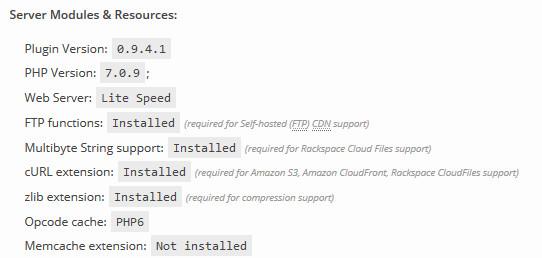W3TC已经运行在PHP 7.0.9