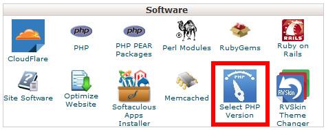cPanel中提供选择PHP版本